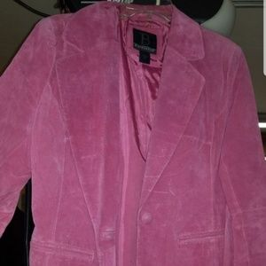 Pink Suede blazer coat size Large